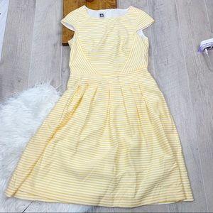 Anne Klein Dresses - Anne Klein Yellow Striped Cap Sleeve Dress 3321